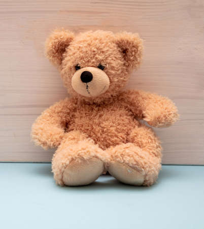 Teddy bear sitting on pastel blue floor, wooden wall background, Child room interior, kid alone concept
