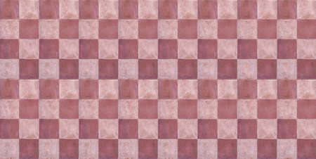 Terracotta floor old tiles background, texture, top view. Retro, vintage tiled flooring, red, pink white color. Ceramic tiles chessboard style floor, Banner