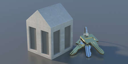 Home ownership concept. Modern model house with keys on grey background. Miniature real-estate with keychain, security, property, selling, buying, renting, construction. 3d illustration