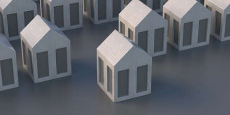 House selection, my home choice, Residential buildinggs models gray color background, one house ahead, 3d illustration