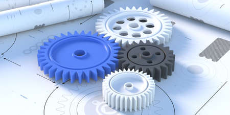Plastic gears, rotating mechanism concept on blueprint plan background, banner, close up top view. Mechanical engineering, teamwork design, cogwheels on technical isometric drawing. 3d illustration