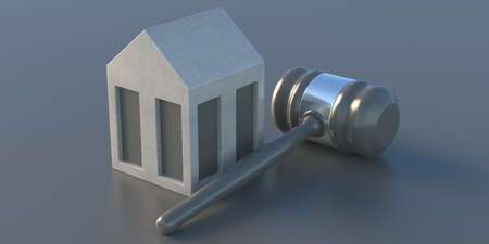House model and judge gavel on gray color background. Home auction, mortgage, bankruptcy or divorce decision concept. Property law issues, real estate and insurance. 3d illustration