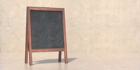 Wooden frame blackboard blank for advertise, promotion, beige color stone background. Chalkboard at school and product presentation. Empty, copy space, template. 3d illustration Reklamní fotografie