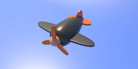 Kids toy concept. Black orange wooden preschool flight airplane with propeller isolated on blue background, texture. Traditional aircraft child entertainment, fun. 3d illustration Reklamní fotografie