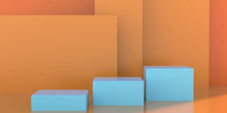 Stands set for presentation, showroom template. Product display podium empty, blue cubes on orange color background. Stage pedestal, showcase for advertise. 3d illustration.