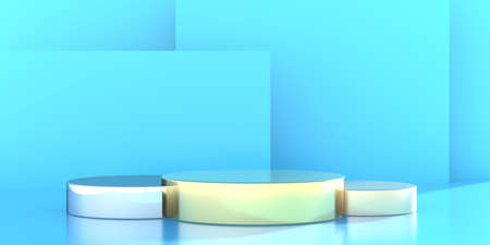 Product display podium empty, round shape on blue color shades background. Stands set for presentation, showroom template. Stage pedestal, showcase for advertise. 3d illustration.