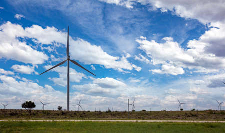 Wind farm, wind turbines, alternative energy plant on a green field, sunny spring day. Green ecological power energy generation. Texas, United States America