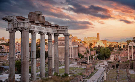 Rome, Italy. Ruins of the ancient roman forum at Palatino hill, Scenic urban landscape in the evening, cloudy sky at sunset. Roma top landmark and tourists attraction. Reklamní fotografie