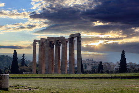 Olympian Zeus temple, also known as the Olympieion or Columns of the Olympian Zeus, cloudy sky at sunset background. Athens. Greece Reklamní fotografie