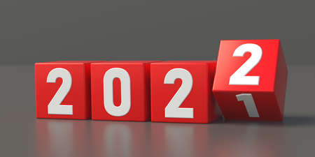 2022 change of New Year concept. Red cubes with digits isolated on grey background. Last cube turns from one to two. Start things from the beginning love business travels life. Reflect 3d illustration