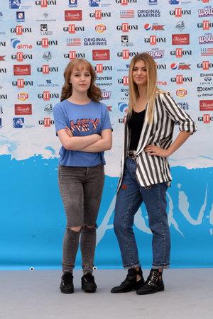 Giffoni Valle Piana, Sa, Italy - July 22, 2018 : Sara and Marti, ( Aurora Moroni and Chiara Del Francia ) at Giffoni Film Festival 2018 - on July 22, 2018 in Giffoni Valle Piana, Italy Archivio Fotografico - 109183359