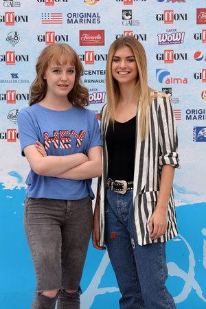 Giffoni Valle Piana, Sa, Italy - July 22, 2018 : Sara and Marti, ( Aurora Moroni and Chiara Del Francia ) at Giffoni Film Festival 2018 - on July 22, 2018 in Giffoni Valle Piana, Italy Archivio Fotografico - 109183361
