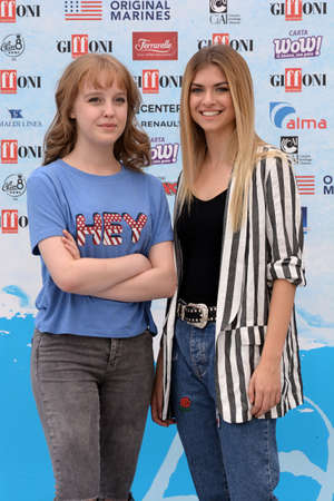 Giffoni Valle Piana, Sa, Italy - July 22, 2018 : Sara and Marti, ( Aurora Moroni and Chiara Del Francia ) at Giffoni Film Festival 2018 - on July 22, 2018 in Giffoni Valle Piana, Italy Archivio Fotografico - 109183362