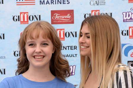 Giffoni Valle Piana, Sa, Italy - July 22, 2018 : Sara and Marti, ( Aurora Moroni and Chiara Del Francia ) at Giffoni Film Festival 2018 - on July 22, 2018 in Giffoni Valle Piana, Italy Archivio Fotografico - 109183365