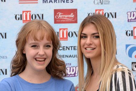 Giffoni Valle Piana, Sa, Italy - July 22, 2018 : Sara and Marti, ( Aurora Moroni and Chiara Del Francia ) at Giffoni Film Festival 2018 - on July 22, 2018 in Giffoni Valle Piana, Italy Archivio Fotografico - 109183367