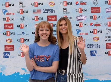 Giffoni Valle Piana, Sa, Italy - July 22, 2018 : Sara and Marti, ( Aurora Moroni and Chiara Del Francia ) at Giffoni Film Festival 2018 - on July 22, 2018 in Giffoni Valle Piana, Italy Archivio Fotografico - 109183368
