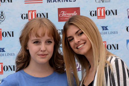Giffoni Valle Piana, Sa, Italy - July 22, 2018 : Sara and Marti, ( Aurora Moroni and Chiara Del Francia ) at Giffoni Film Festival 2018 - on July 22, 2018 in Giffoni Valle Piana, Italy Archivio Fotografico - 109183372