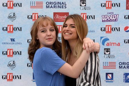Giffoni Valle Piana, Sa, Italy - July 22, 2018 : Sara and Marti, ( Aurora Moroni and Chiara Del Francia ) at Giffoni Film Festival 2018 - on July 22, 2018 in Giffoni Valle Piana, Italy Archivio Fotografico - 109183375