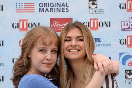Giffoni Valle Piana, Sa, Italy - July 22, 2018 : Sara and Marti, ( Aurora Moroni and Chiara Del Francia ) at Giffoni Film Festival 2018 - on July 22, 2018 in Giffoni Valle Piana, Italy Archivio Fotografico - 109183376