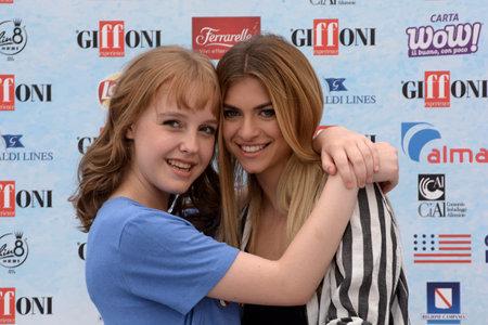 Giffoni Valle Piana, Sa, Italy - July 22, 2018 : Sara and Marti, ( Aurora Moroni and Chiara Del Francia ) at Giffoni Film Festival 2018 - on July 22, 2018 in Giffoni Valle Piana, Italy Archivio Fotografico - 109183378