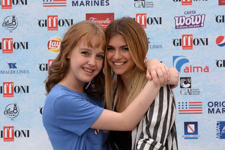 Giffoni Valle Piana, Sa, Italy - July 22, 2018 : Sara and Marti, ( Aurora Moroni and Chiara Del Francia ) at Giffoni Film Festival 2018 - on July 22, 2018 in Giffoni Valle Piana, Italy Archivio Fotografico - 109183379