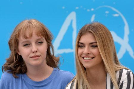 Giffoni Valle Piana, Sa, Italy - July 22, 2018 : Sara and Marti, ( Aurora Moroni and Chiara Del Francia ) at Giffoni Film Festival 2018 - on July 22, 2018 in Giffoni Valle Piana, Italy Archivio Fotografico - 109183382