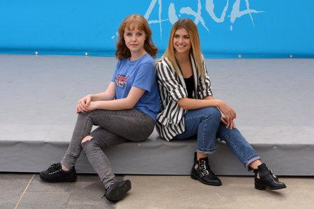 Giffoni Valle Piana, Sa, Italy - July 22, 2018 : Sara and Marti, ( Aurora Moroni and Chiara Del Francia ) at Giffoni Film Festival 2018 - on July 22, 2018 in Giffoni Valle Piana, Italy Archivio Fotografico - 109183388