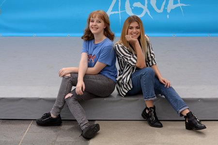 Giffoni Valle Piana, Sa, Italy - July 22, 2018 : Sara and Marti, ( Aurora Moroni and Chiara Del Francia ) at Giffoni Film Festival 2018 - on July 22, 2018 in Giffoni Valle Piana, Italy Archivio Fotografico - 109183389