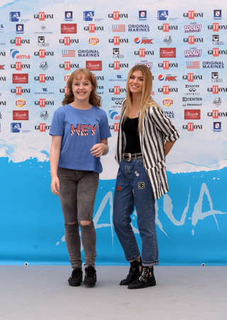 Giffoni Valle Piana, Sa, Italy - July 22, 2018 : Sara and Marti, ( Aurora Moroni and Chiara Del Francia ) at Giffoni Film Festival 2018 - on July 22, 2018 in Giffoni Valle Piana, Italy Archivio Fotografico - 109183425