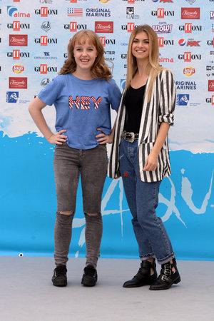 Giffoni Valle Piana, Sa, Italy - July 22, 2018 : Sara and Marti, ( Aurora Moroni and Chiara Del Francia ) at Giffoni Film Festival 2018 - on July 22, 2018 in Giffoni Valle Piana, Italy Archivio Fotografico - 109183426