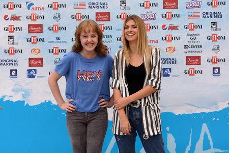 Giffoni Valle Piana, Sa, Italy - July 22, 2018 : Sara and Marti, ( Aurora Moroni and Chiara Del Francia ) at Giffoni Film Festival 2018 - on July 22, 2018 in Giffoni Valle Piana, Italy Archivio Fotografico - 109183430