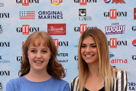 Giffoni Valle Piana, Sa, Italy - July 22, 2018 : Sara and Marti, ( Aurora Moroni and Chiara Del Francia ) at Giffoni Film Festival 2018 - on July 22, 2018 in Giffoni Valle Piana, Italy Archivio Fotografico - 109183431
