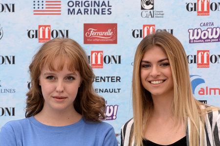 Giffoni Valle Piana, Sa, Italy - July 22, 2018 : Sara and Marti, ( Aurora Moroni and Chiara Del Francia ) at Giffoni Film Festival 2018 - on July 22, 2018 in Giffoni Valle Piana, Italy Archivio Fotografico - 109183432