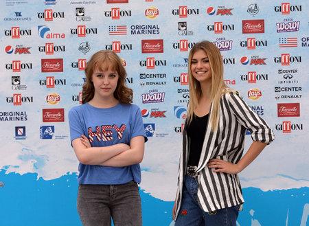 Giffoni Valle Piana, Sa, Italy - July 22, 2018 : Sara and Marti, ( Aurora Moroni and Chiara Del Francia ) at Giffoni Film Festival 2018 - on July 22, 2018 in Giffoni Valle Piana, Italy Archivio Fotografico - 109183434