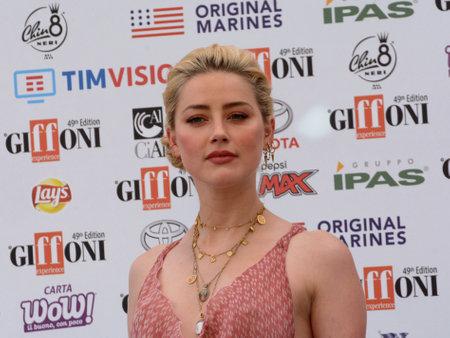 Giffoni Valle Piana, Sa, Italy - July 25, 2019 : Amber Heard at Giffoni Film Festival 2019 - on July 25, 2019 in Giffoni Valle Piana, Italy.