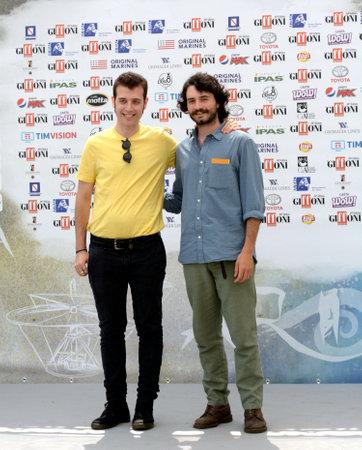 Giffoni Valle Piana, Sa, Italy - July 21, 2019 : Fulvio Risuleo and Antonio Celsi at Giffoni Film Festival 2019 - on July 21, 2019 in Giffoni Valle Piana, Italy.