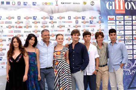 Giffoni Valle Piana, Sa, Italy - July 22, 2019 : Ivan Cotroneo and Cast Tv Series :  La Compagnia Del Cigno  at Giffoni Film Festival 2019 - on July 22, 2019 in Giffoni Valle Piana, Italy.