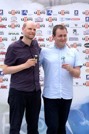 Giffoni Valle Piana, Sa, Italy - July 22, 2019 : Will Becher and Richard Phelan directors of  : Shaun the Sheep  at Giffoni Film Festival 2019 - on July 22, 2019 in Giffoni Valle Piana, Italy.