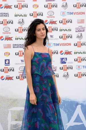 Giffoni Valle Piana, Sa, Italy - July 22, 2019 : Fotini Peluso at Giffoni Film Festival 2019 - on July 22, 2019 in Giffoni Valle Piana, Italy. Editorial