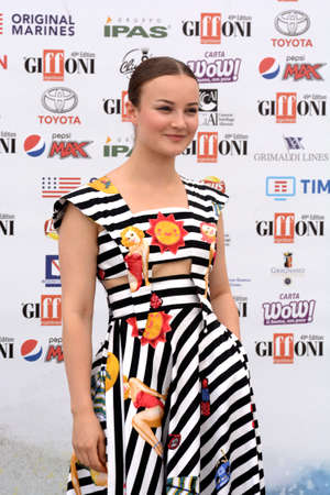 Giffoni Valle Piana, Sa, Italy - July 22, 2019 : Hildegard De Stefano at Giffoni Film Festival 2019 - on July 22, 2019 in Giffoni Valle Piana, Italy.