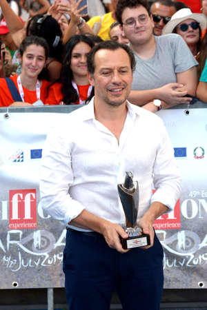 Giffoni Valle Piana, Sa, Italy - July 24, 2019 : Stefano Accorsi at Giffoni Film Festival 2019 - on July 24, 2019 in Giffoni Valle Piana, Italy.