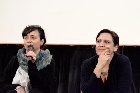 Giffoni Valle Piana, Italy - February 18,2020 : Chiara Pacifici and Flavia Citton,Amnesty International Activists,at Giffoni Film Festival. Editöryel