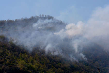 Italy : Mountain fire at Giffoni Valle Piana,April 9, 2020. Editoriali