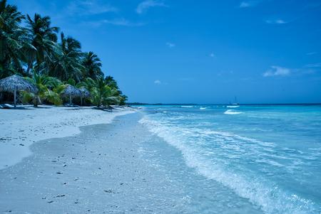 Reisefotografie - tropischer Strand mit weißem Sand und Palmen (Saona-Insel, Dominikanische Republik).
