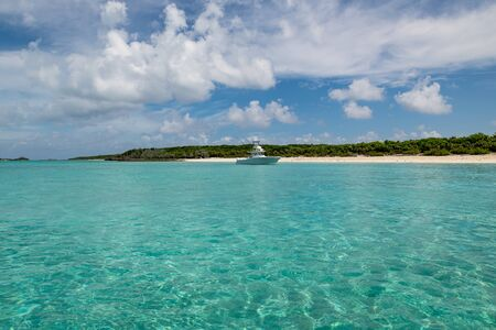 View of Big Major Cay (better known as Pig island or Pig beach) where lives a colony of feral pigs (Exuma, Bahamas).