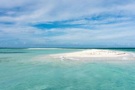 View of a little sandbank called Cayo Muerto in the caribbean sea (Los Roques Archipelago, Venezuela). Foto de archivo