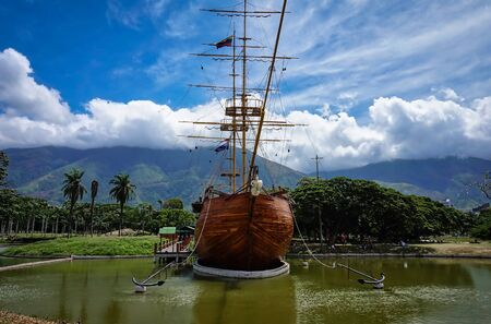 View of an old sailing ship in the east park of Caracas (Venezuela). Stock Photo