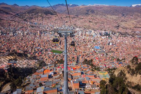 La Paz, Bolivia: top view from the cable way. Stock Photo
