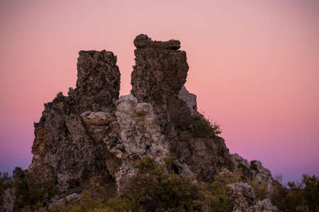 magic hour: Just after sunset, salty tufa towers set against a pink sky that gradients to purple at the bottom during magic hour at iconic Mono Lake in California.