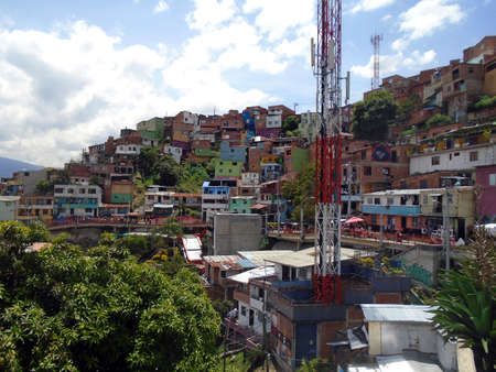 communication antenna in favela comuna thirteen in medellin colombia Stock Photo
